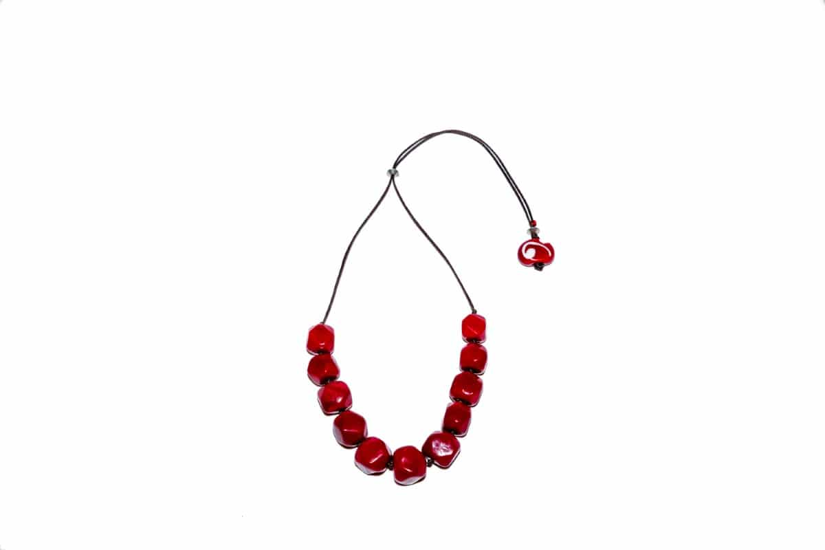 """Red Dice"" Necklace Shop by Venezia Autentica - Shop by Venezia Autentica - Elegant deep-red Murano Glass necklace, designed and handmade in Venice, Italy. Every bead, crafted by lampworking, is unique, beautiful, and durable"