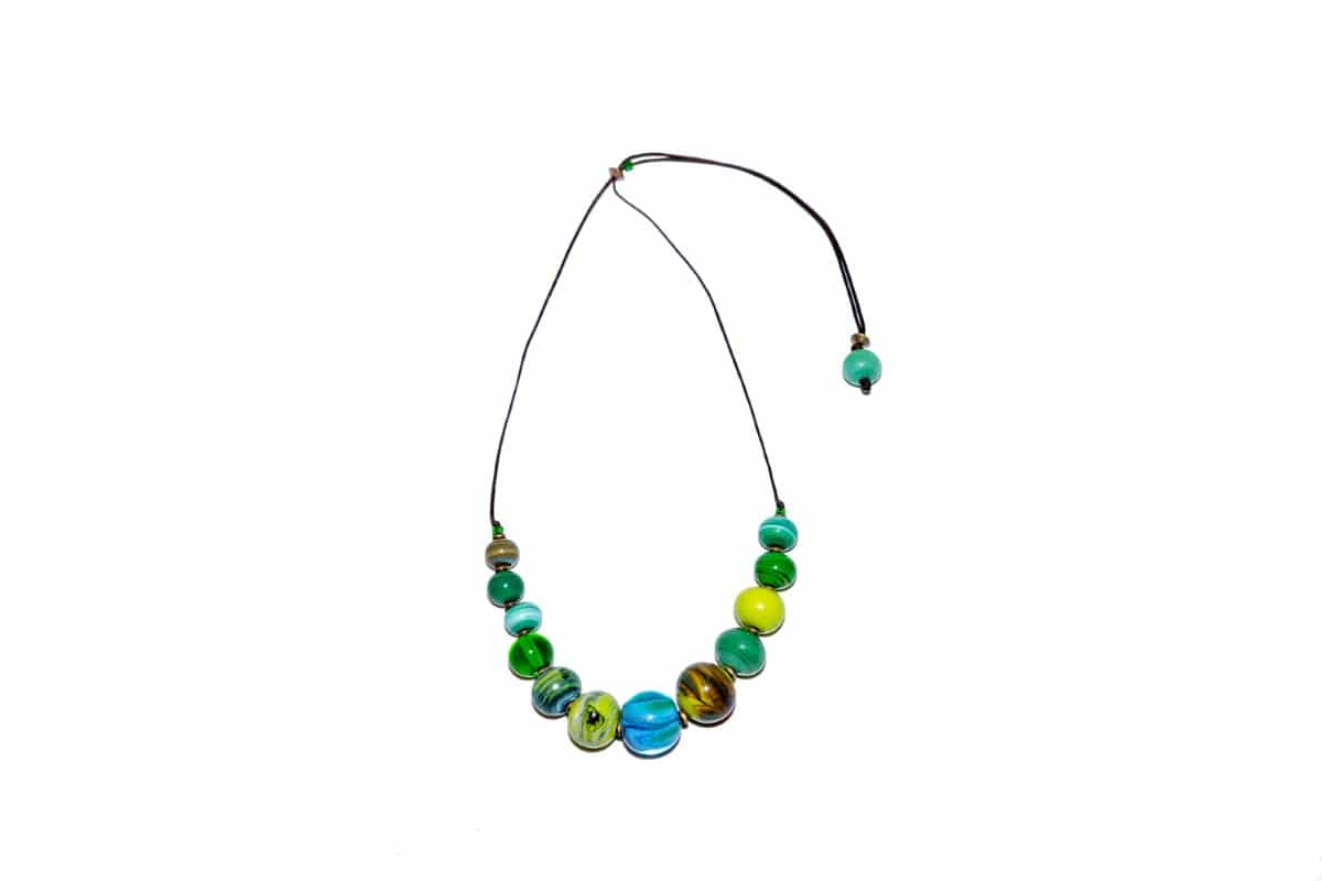 """Venice Canals"" Necklace Shop by Venezia Autentica - Shop by Venezia Autentica - Beautiful Murano Glass necklace in different shades of green, handmade in Venice, Italy. Every bead, crafted by lampworking, is unique, beautiful, and durable"