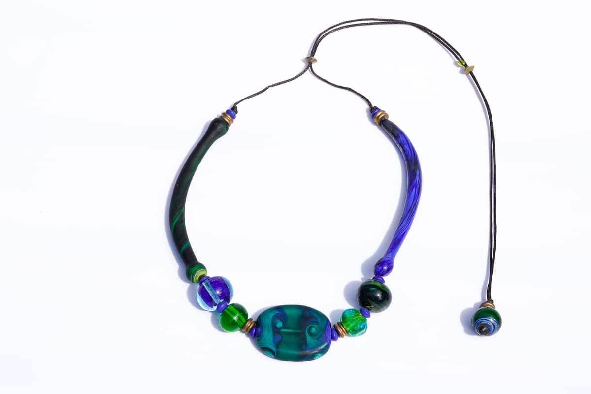 """Venice Callydria"" Necklace Shop by Venezia Autentica - Shop by Venezia Autentica - Beautiful blue and green Murano Glass necklace, lampworked in Venice. The mix of incredible colors, shapes and elegance make it the perfect everyday accessory."